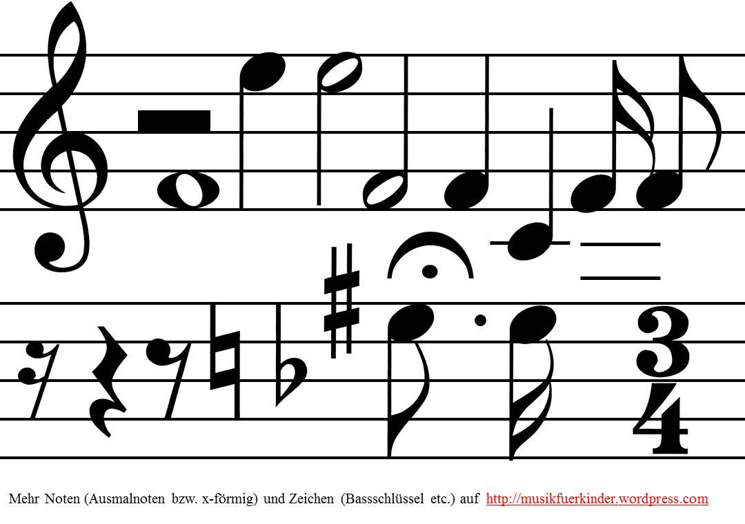 Große Noten für Tafelbilder, Liederarbeitung, Rhythmusbausteine etc.