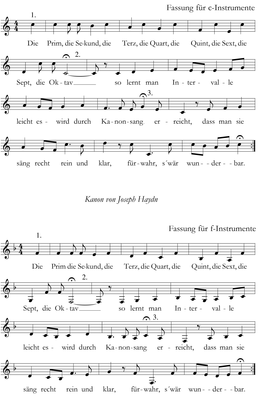 Intervall Lied Die Prim die Sekund