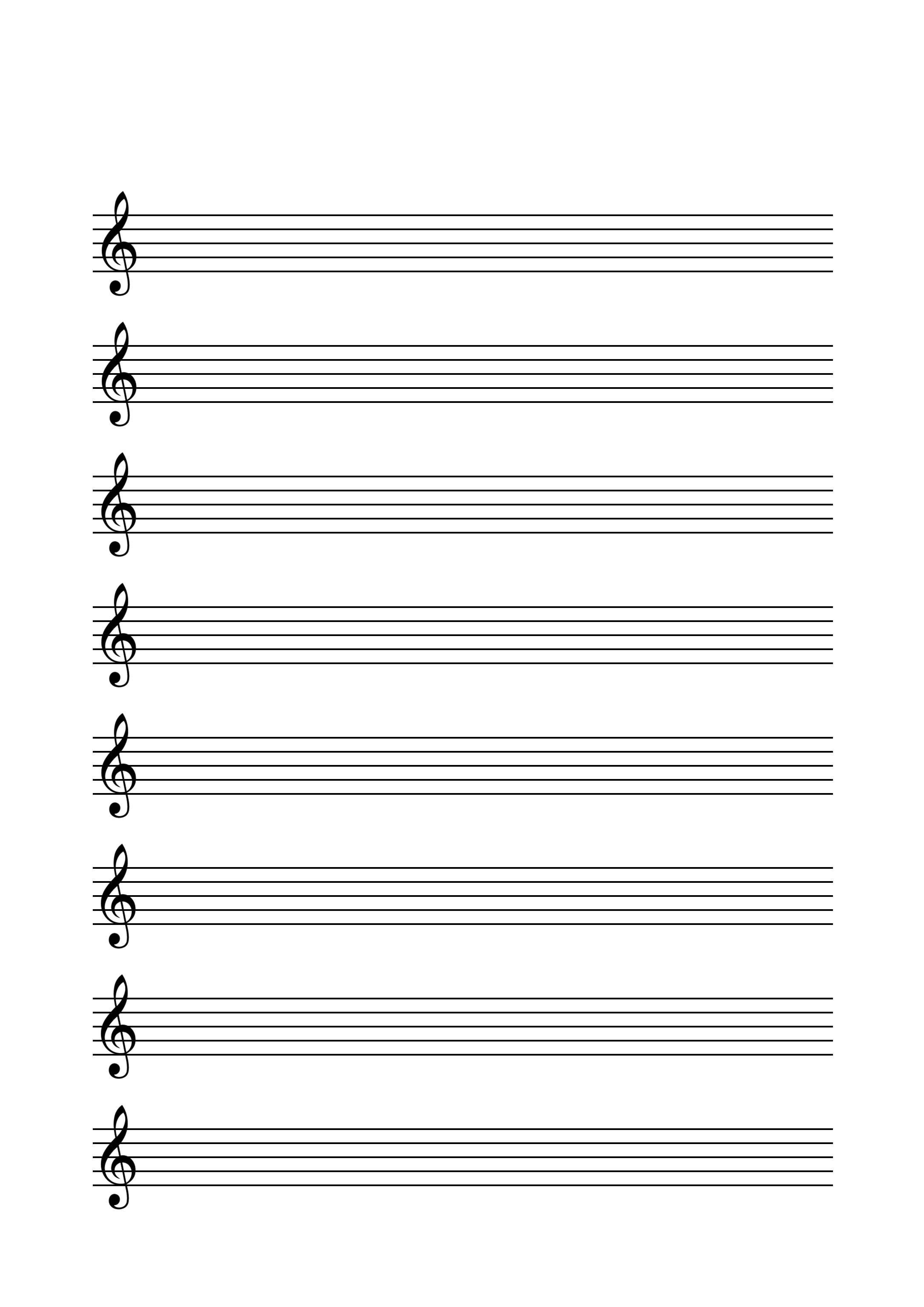 Notenlinien mit Violinschlüssel