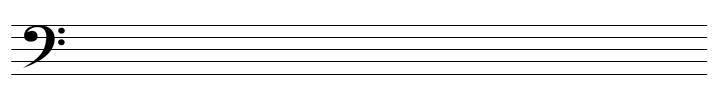 Notenzeilen mit Bassschlüssel
