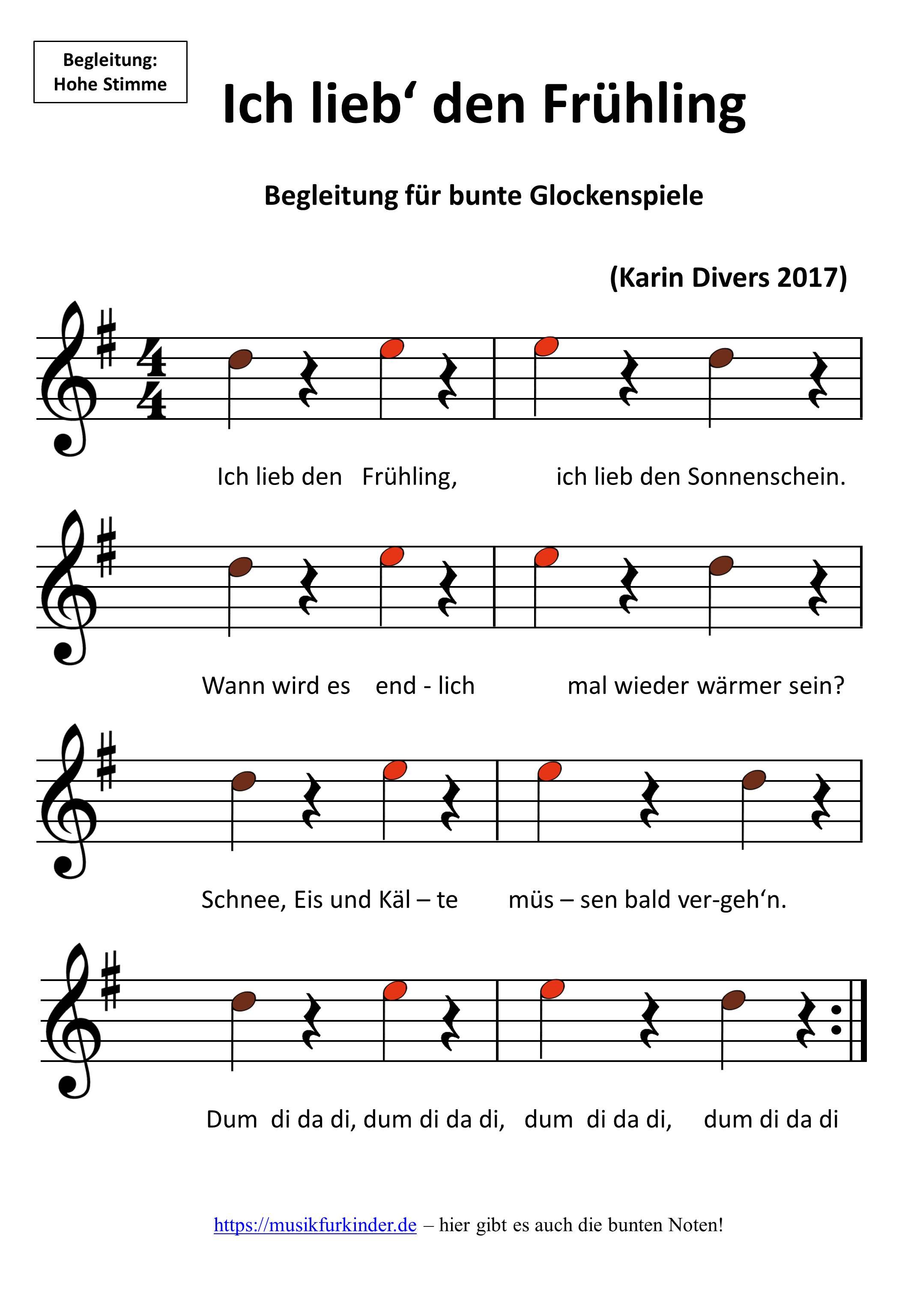 Glockenspiel Weihnachtslieder Noten Kostenlos.Ich Lieb Den Frühling Noten Musik Für Kinder